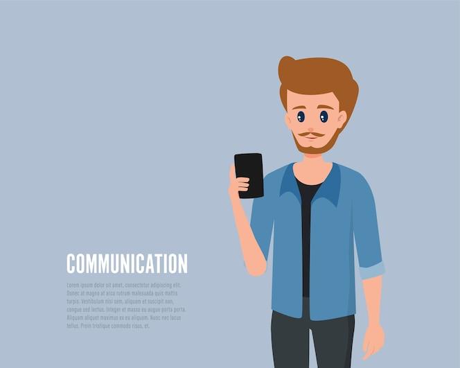 Comunicación de personas en la red social infografía de dibujos animados.