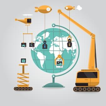 Comunicación empresarial en línea al mundo alrededor del mundo con conexión