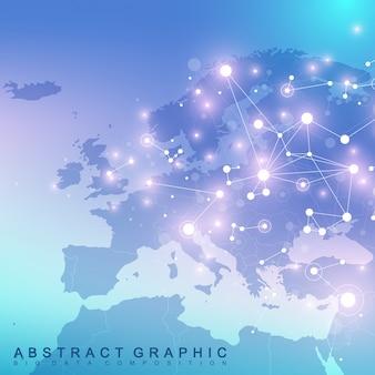 Comunicación de fondo gráfico geométrico con el mapa de europa. gran complejo de datos con compuestos. perspectiva de fondo. matriz mínima. visualización de datos digitales. ilustración cibernética científica.