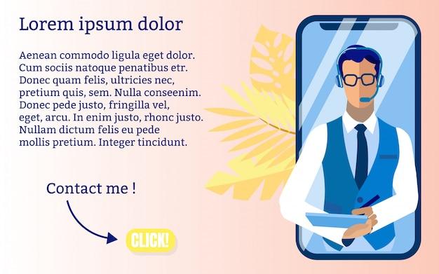 Comunicación informativa de banner con clientes. el operador puede responder rápidamente a la situación. en la pantalla del teléfono inteligente grande, hombre con auriculares de teléfono toma notas. ilustración.