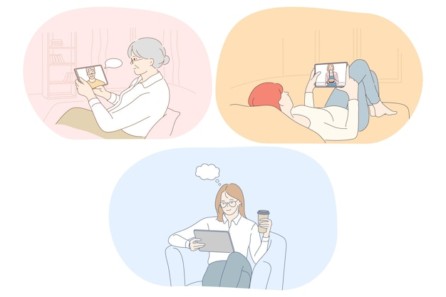 Comunicación en línea, chat, concepto de e-learning.