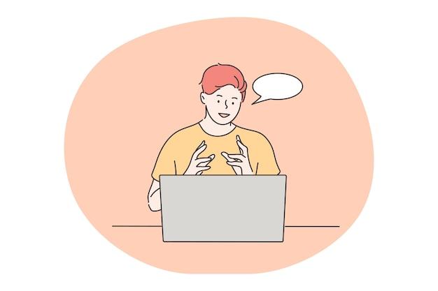 Comunicación en línea, discusión empresarial, concepto de contratación.