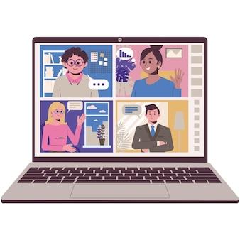 Comunicación online con amigos y compañeros. videoconferencia remota.