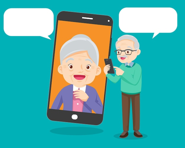 Comunicación de pareja de familia de edad avanzada mediante videollamada de teléfono inteligente