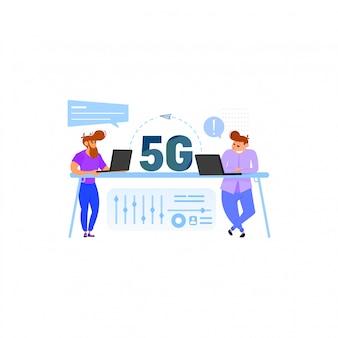 Comunicación de personas mediante conexión rápida concepto wifi 5g.