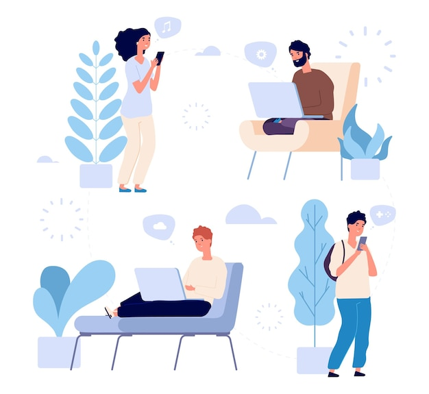 Comunicación de personas. ilustración de vector de chat de internet. hombres y mujeres jóvenes con gadgets, computadoras portátiles, teléfonos inteligentes.