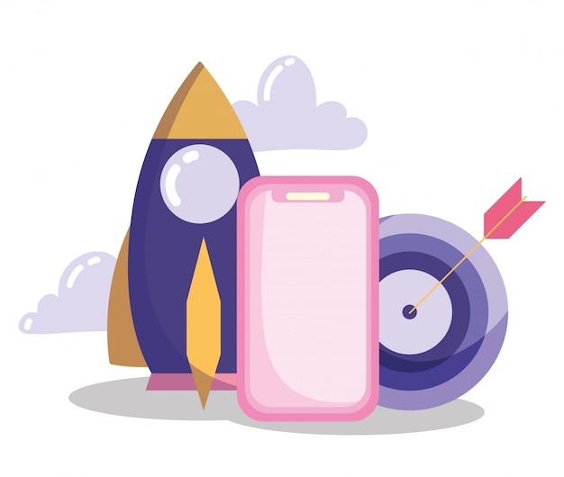 Comunicación y tecnología, idea de cohete de estrategia objetivo para teléfonos inteligentes