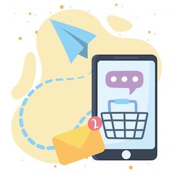 Comunicación y tecnologías de la red social de mensaje de compras en línea de smartphone