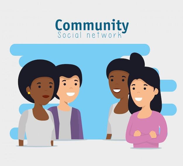 Comunidad de amigos con mensaje de cooperación social