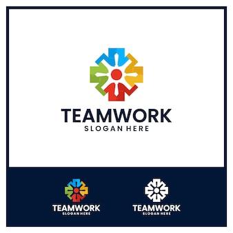 Comunidad, amistad, plantilla de logotipo