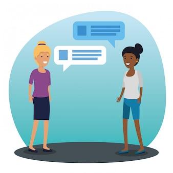 Comunidad de chicas hablando y burbuja de chat