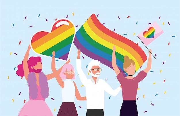 Comunidad de hombres y mujeres con banderas arcoiris.