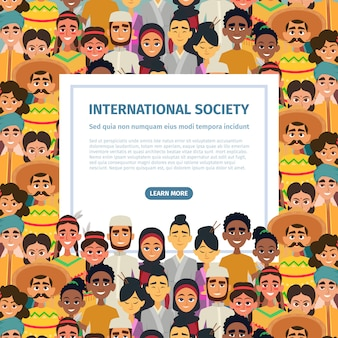 Comunidad internacional con diferentes pueblos multiculturales masculinos y femeninos.