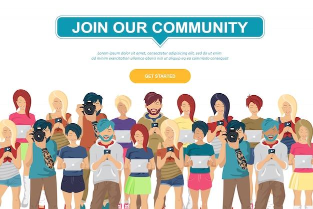 Comunidad de jóvenes adolescentes
