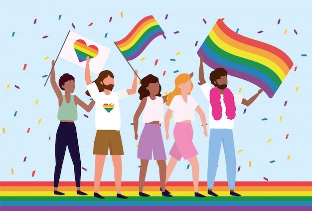 Comunidad lgbt con corazón y bandera arcoiris.