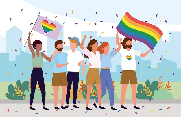Comunidad de lgbt junto con banderas de arcoiris.
