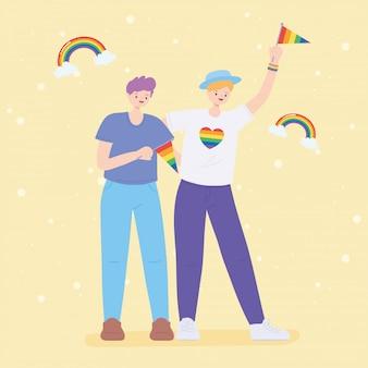 Comunidad lgbtq, celebración de banderas del arco iris de hombres jóvenes, desfile gay protesta por discriminación sexual