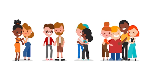 Comunidad lgbtq. conjunto de personas diversas. hombres y mujeres. ilustración de personajes de dibujos animados de diseño plano.