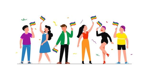 Comunidad lgbtq. feliz abrazando a los jóvenes sosteniendo una bandera arco iris lgbt.