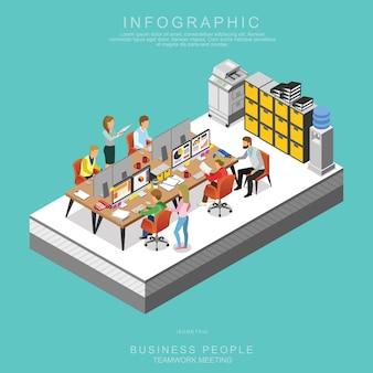 Comunidad de negocios isométricas reunión en equipo en la oficina