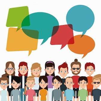 Comunidad de personas de dibujos animados hablando discurso burbuja de comunicación