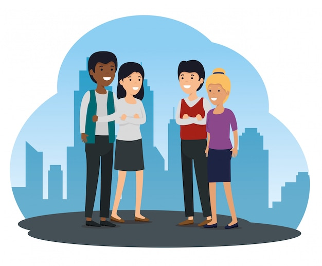Comunidad social de amigos y mensaje de colaboración