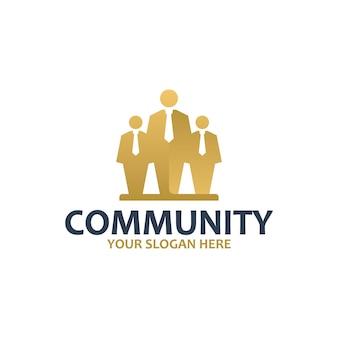 Comunidad, sociedad, oro, plantilla de logotipo.