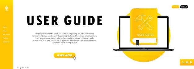 Concept user guide libro de preguntas frecuentes para páginas web, banners, redes sociales. libro de guía del usuario. ilustración vectorial