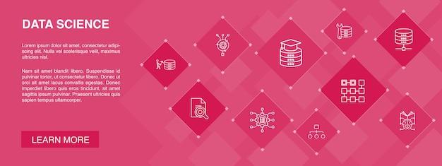 Concepto de 10 iconos de banner de ciencia de datos.aprendizaje automático, big data, base de datos, iconos simples de clasificación