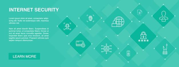 Concepto de 10 iconos de banner de seguridad de internet. seguridad cibernética, escáner de huellas dactilares, cifrado de datos, iconos simples de contraseña
