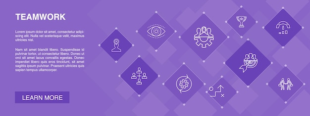 Concepto de 10 iconos de banner de trabajo en equipo. colaboración, objetivo, estrategia, iconos simples de rendimiento