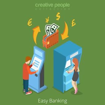 Concepto 3d del flujo de dinero de las finanzas empresariales del banco fácil