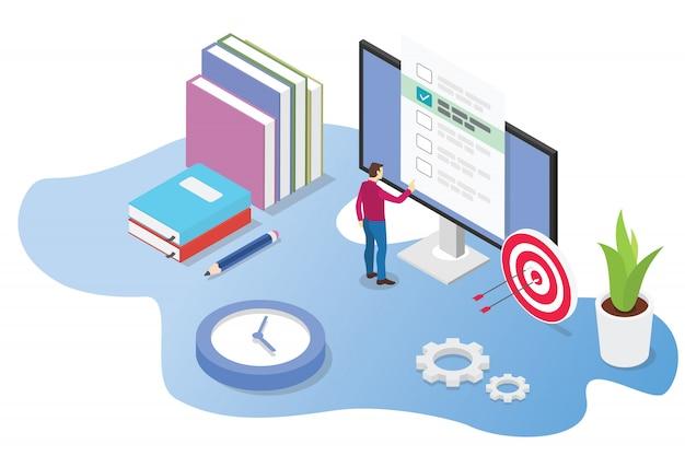Concepto 3d en línea isométrico de examen o curso