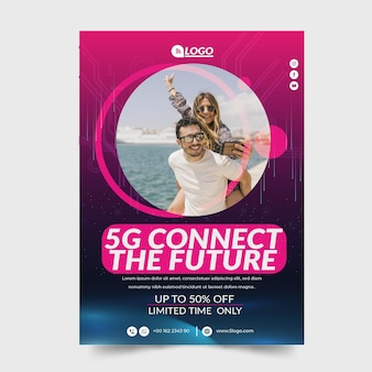 Concepto 5g flyer v Vector Premium