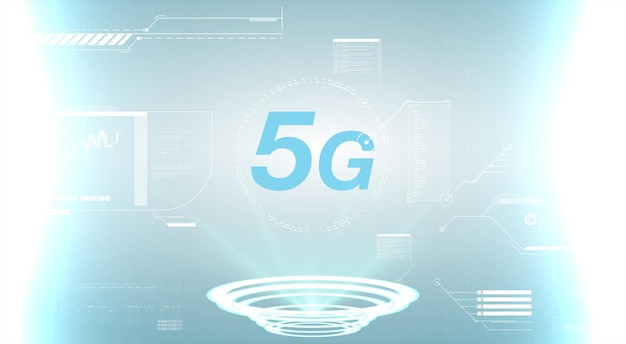 Concepto 5g de tecnología de conexión a internet. plantilla de diseño 5g letrero de neón, banner de luz, letrero de neón diseño de pantalla de tecnología futura del vector. señal de velocidad de conexión a internet 5g futurista