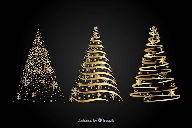 Concepto abstracto del árbol de navidad dorado