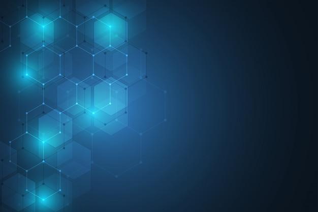 Concepto abstracto de ciencia y tecnología de elementos hexagonales.