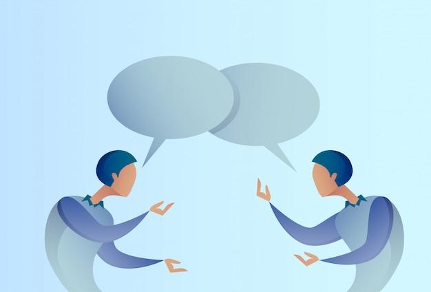 Concepto abstracto de la comunicación de la burbuja de talking chat box del hombre de negocios dos, hombre de negocios