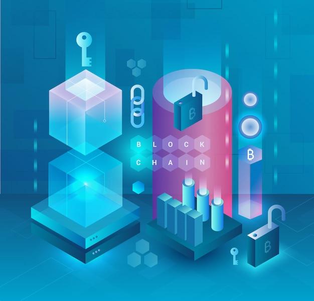 Concepto abstracto de criptomoneda y blockchain. granja minera bitcoin, ethereum y monero. mercado criptográfico de dinero digital. diseño web, banner de presentación.