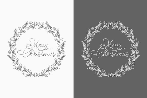 Concepto abstracto y decorativo fondo de corona de navidad con elementos creativos