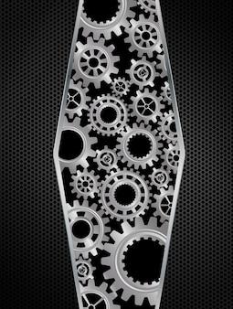 Concepto abstracto de engranajes en fondo negro