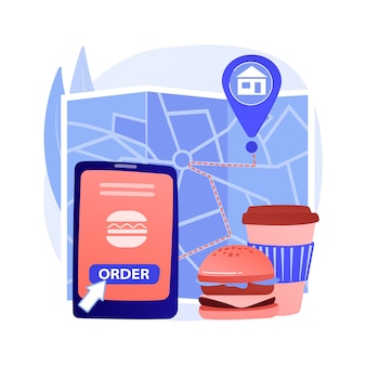 Concepto abstracto de entrega de alimentos