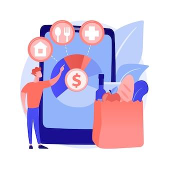 Concepto abstracto de gastos de consumo