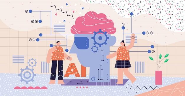 Concepto abstracto moderno de inteligencia artificial