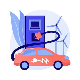 Concepto abstracto de uso de vehículos eléctricos