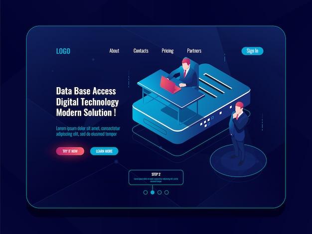 Concepto de acceso a la base de datos, icono isométrico de la sala de servidores, soporte de hosting, administrador del sistema, computadora portátil