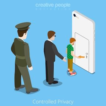 Concepto de acceso controlado al dispositivo de privacidad. isometría isométrica ilustración del sitio web.