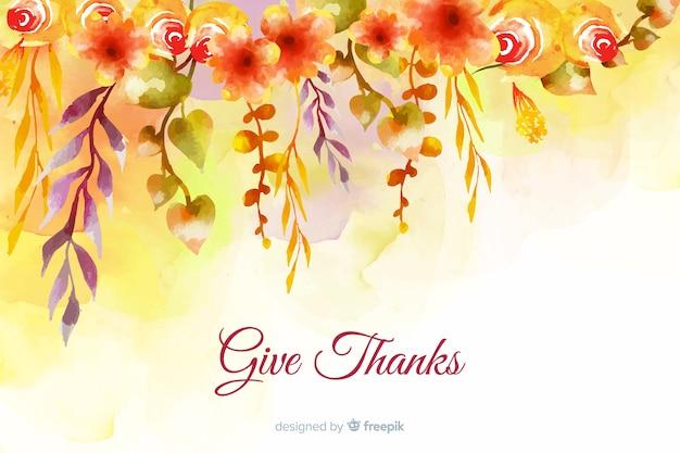 Concepto de acción de gracias con fondo acuarela