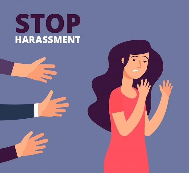 Concepto de acoso sexual. mujer y mans manos.