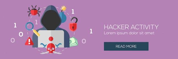 Concepto de actividad de cibercrimen y piratas informáticos